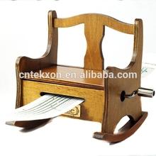 Vintage Wooden Music Box Musical Musical Rocking Chair , DIY Make Yr Own Song