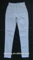 lady women high waist Cut the rotten washing skinny jeans