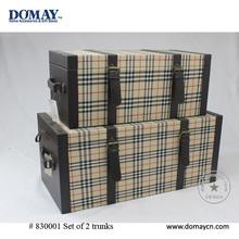 S/2 large decorative fabric storage trunk, wood trunk