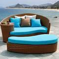 Hot vender todo o tempo do pátio elegante em forma redonda de vime do chaise lounge, pe rattan lounge chair mobília ao ar livre