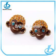 Wholesale rhinestone hair enamel alloy cartoon earrings