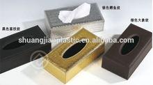 rectangle golden&silver crocodile line plastic tissue box