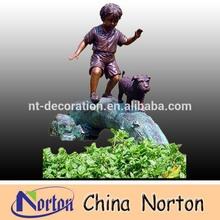 boy and dog playing bronze children sculpture NTBH-C065