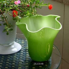 wide mouth scallope rim bouquet two layer green glass vase