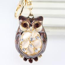 2014 fashion wholesale owl rhinestone key chain