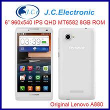 "6"" Original Lenovo A880 MTK6582 6"" screen Quad Core Android cell Smartphone1GB RAM 8GB ROM GPS 3G WCDMA"