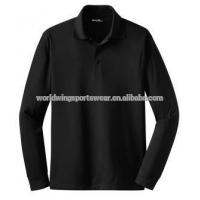 Ladies' personlized plain black micropique moisture wicking long sleeves polo