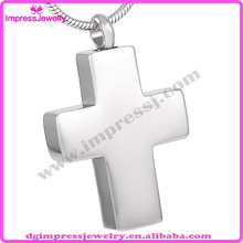 IJD8134 polished finish 316l stainless steel ashes pet cross urn pendants