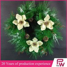 2014 P.W.new style Christmas WREATH decoration natural magnolia plastic pine needles