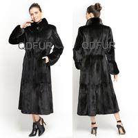 QD70781 Women Wear Whole Hide Stand Up Collar Mink Fur Coats Length 120 Centimeter