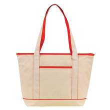 Colored trims natural polyester tote bag