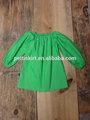 Crianças roupas verdemanga longa 100% algodão modelos de blusas elegantes