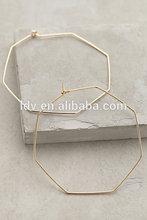 Gold Big Hexagon Hoops Earring
