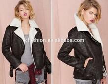 2014 Winter Black Faux Fur Jacket In Vintage Shearling for Women LC225