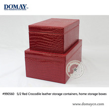 S/2 Red crocodile office leather storage container, home storage boxes