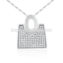 women's purse shape shiny crystal long pendant necklace