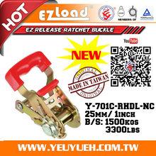 [EZ LOAD] I Inch Adjustable Ratchet Metal Webbing Buckle with Plastic handle