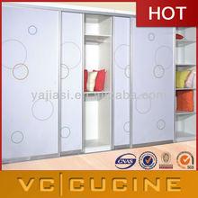 Glass doors modern MDF modular bedroom wardrobe