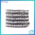 2014 groß-mode semi- edelstein lederarmband geflochten perlenarmband