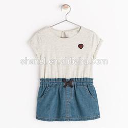 FD39 one piece denim dress mix order wholesale kids dress online shopping