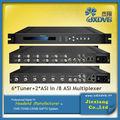 Tv cable 2 asi+6 sintonizador( 8 asi) multiplexor de frecuencia scrambler