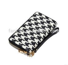 Ms fashion zipper weaving wholesale cell phone wallet