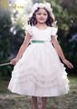 Fd-007 2014 nouveau design robe de bal en tulle princesse, scoop cou robe fille fleur blanche