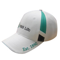 6 panel front buckram flat embroidery white with contrast blue black type on front side mesh back panels promotion fitted cap