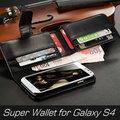 caliente de lujo 8 sitio 5 pulgadas del teléfono celular para samsung galaxy s4 caja del teléfono con cuero de la pu cartera super