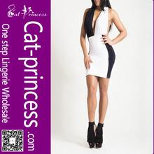 Cheapest white and black halter neck evening dress patterns
