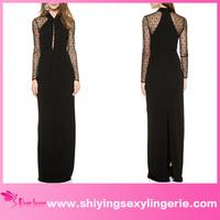 New Design Wholesale Black Long Draped Maxi fashion elegant without dress sexy girls photo