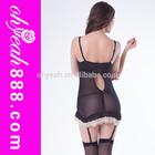 Hot sale black satin nighty mature women sexy lingerie