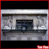 Decorative Sandstone Statuary Hand Carved Natural Stone Window Frame