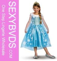 New Anna Elsa Costume & Wig Girls Princess Kids Fancy Dress Outfit