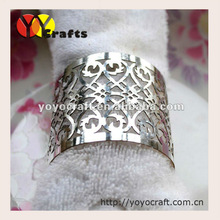 Free logo silver color holiday party table decoration laser cut napkin rings