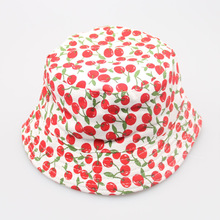 Red fruit cherry images printed baby caps Wholesale cute toddler dress hats Lovely bucket hats