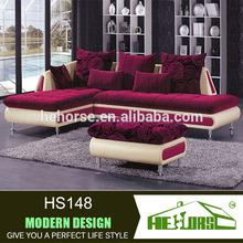 HS148# living room furniture purple sofa pink leather half fabric half leather sofa