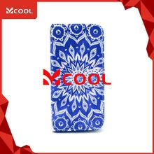 H1128 iP 6 Plus 5.5 Art Leather Blue Mandala Mobile Phone Case Pouch Case