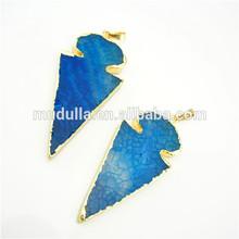 Gold Plated Edge and Bail Slab Stone Charm. Blue Agate Arrowhead Pendant Charm Jewelry