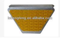 yellow highway guardrail reflectors