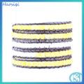 cm 85 hsq mão fazer amarelo e branco jade talão de corda de couro wrap pulseira