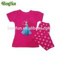 venta al por mayor de algodón de color rosa bebé congelado las niñas pijama conjuntos de bebé ni&n