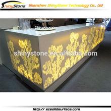 Eye-catching newest folower pattern design Corian Solid Surfurface/man-made stone full led bar furniture