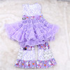 Famous Brand Baby Girl Boutique Sleeve Dress Matching Cute Ruffle Casual Pant Wholesale Children Clothing USA