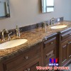 Emperador Dark Marble Stone Double Bathroom Sink Countertop