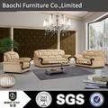 Rústico baochi sofá de couro, clássico de madeira estrutura de sofá de couro, china móveis para sala 703#