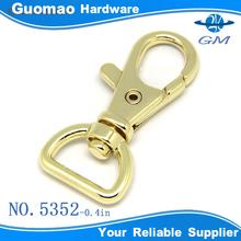 Light gold plain design zinc alloy swivel d ring snap hook