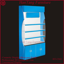 Hot sale 5*8 feet sky blue mall wooden cosmetic shop furniture for cosmetics displaying