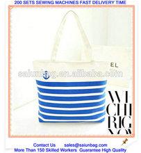 100% cotton Stripe canvas shopping bag wholesale