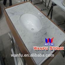 Natural marble three hole vanity bathroom tops